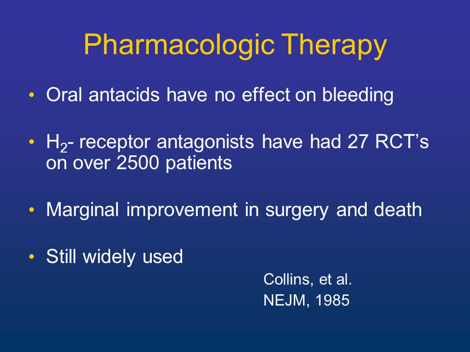 Pharmacologic Therapy Oral antacids have no effect on bleeding H 2 - receptor antagonists have had 27 RCT's on over 2500 patients Marginal improvement in surgery and death Still widely used Collins, et al.