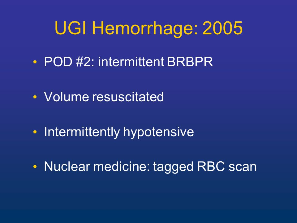 Operation for UGI Hemorrhage Likely to become even less frequent Therefore operative mortality will likely increase No need to do a curative ulcer operation Control hemorrhage only