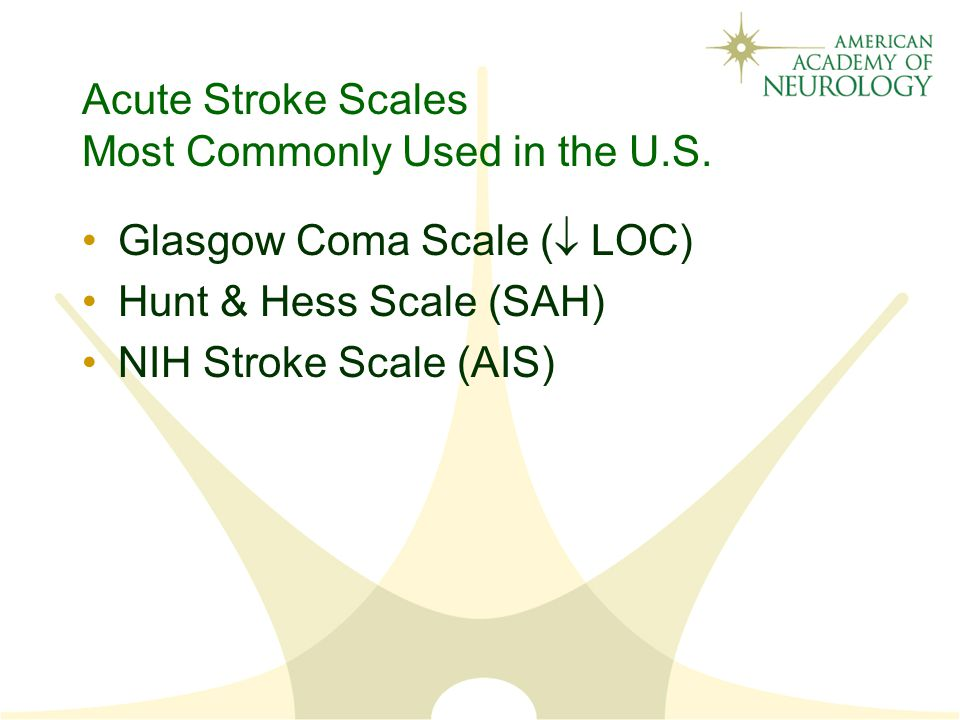 Acute Stroke Scales Most Commonly Used in the U.S.