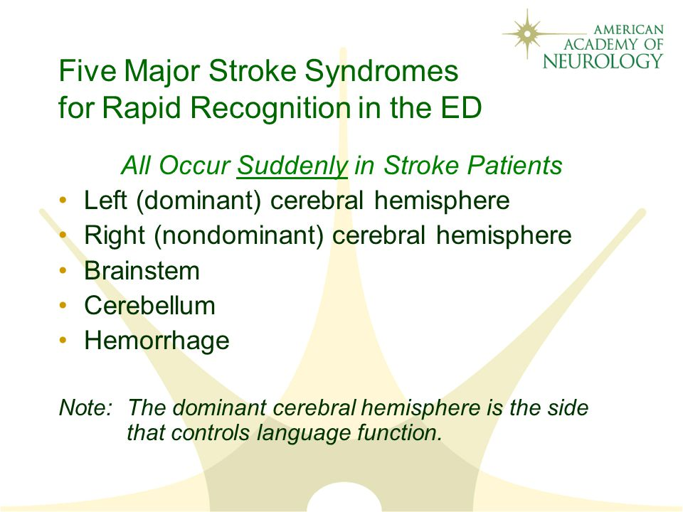 Five Major Stroke Syndromes for Rapid Recognition in the ED All Occur Suddenly in Stroke Patients Left (dominant) cerebral hemisphere Right (nondominant) cerebral hemisphere Brainstem Cerebellum Hemorrhage Note:The dominant cerebral hemisphere is the side that controls language function.
