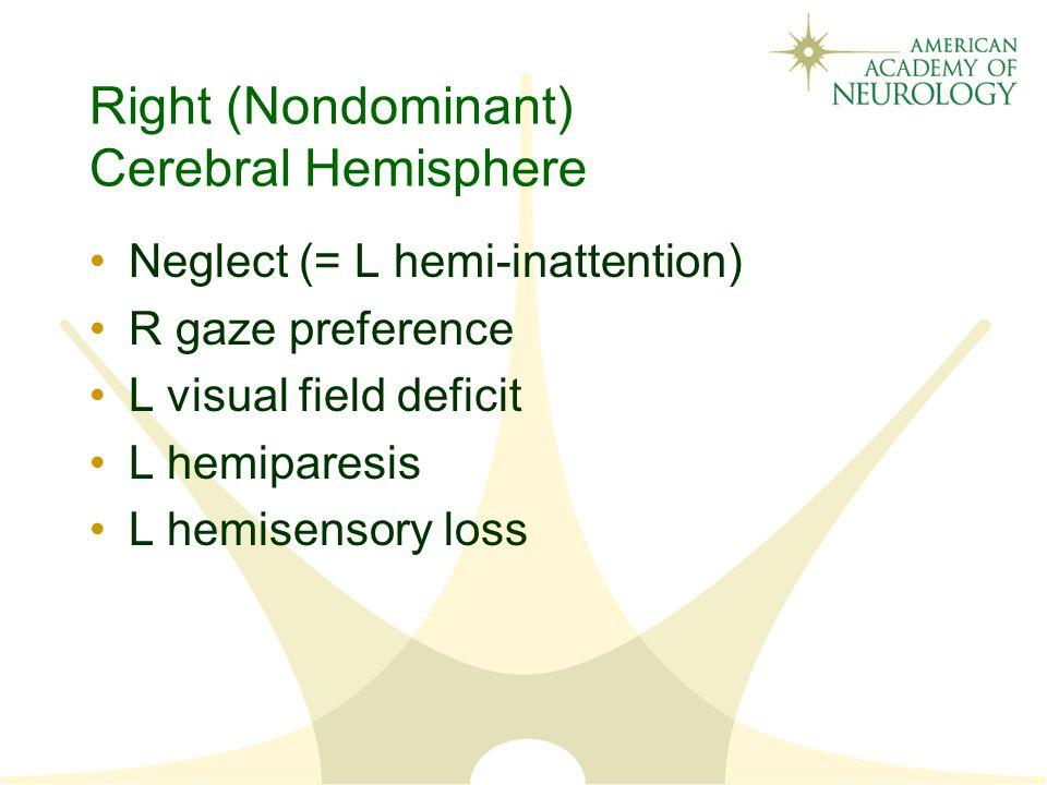 Right (Nondominant) Cerebral Hemisphere Neglect (= L hemi-inattention) R gaze preference L visual field deficit L hemiparesis L hemisensory loss
