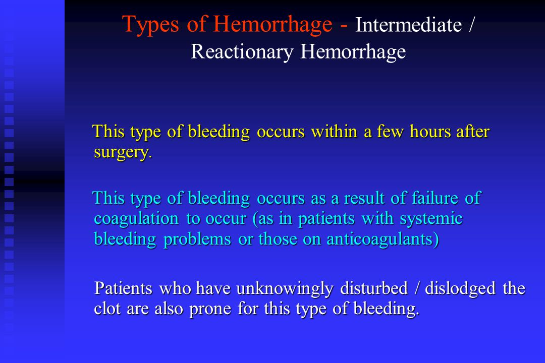 Types of Hemorrhage - Intermediate / Reactionary Hemorrhage This type of bleeding occurs within a few hours after surgery. This type of bleeding occur