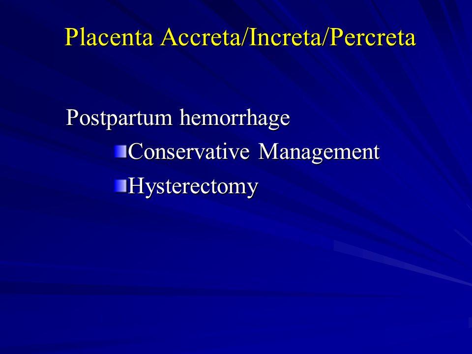 Placenta Accreta/Increta/Percreta Postpartum hemorrhage Conservative Management Hysterectomy