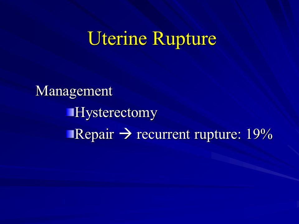Uterine Rupture ManagementHysterectomy Repair  recurrent rupture: 19%