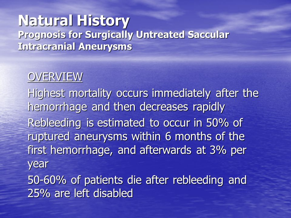 Natural History Prognosis for Surgically Untreated Saccular Intracranial Aneurysms OVERVIEW Highest mortality occurs immediately after the hemorrhage and then decreases rapidly Rebleeding is estimated to occur in 50% of ruptured aneurysms within 6 months of the first hemorrhage, and afterwards at 3% per year 50-60% of patients die after rebleeding and 25% are left disabled