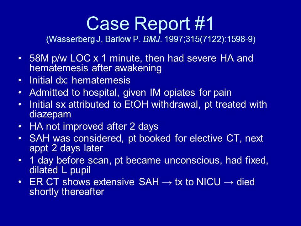Case Report #1 (Wasserberg J, Barlow P. BMJ.