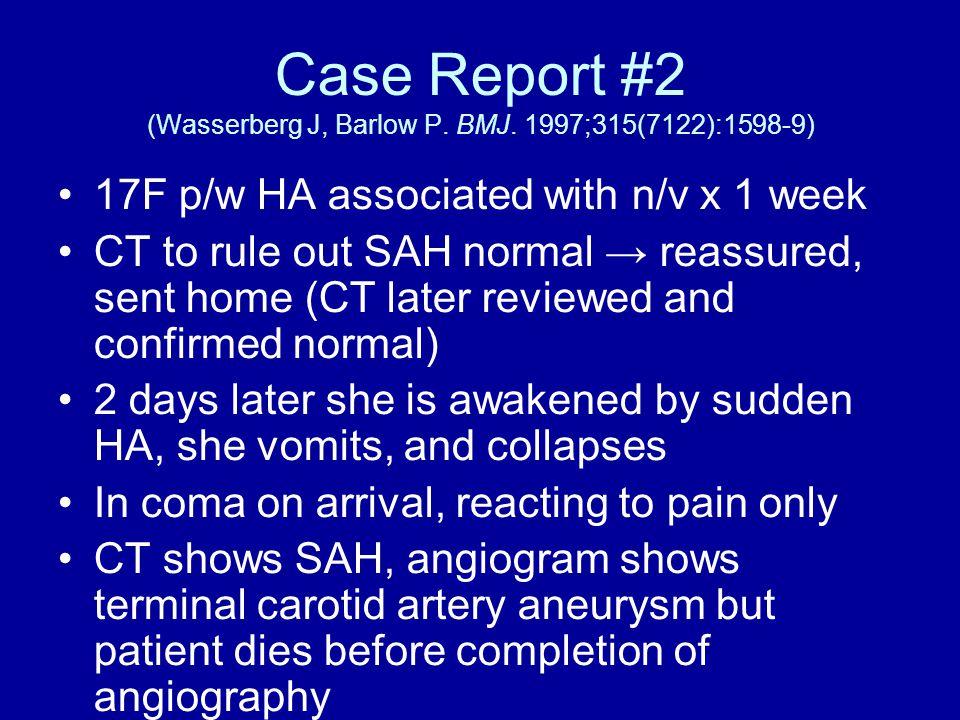 Case Report #2 (Wasserberg J, Barlow P. BMJ.