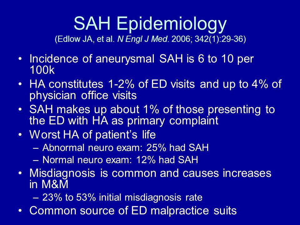 SAH Epidemiology (Edlow JA, et al. N Engl J Med.