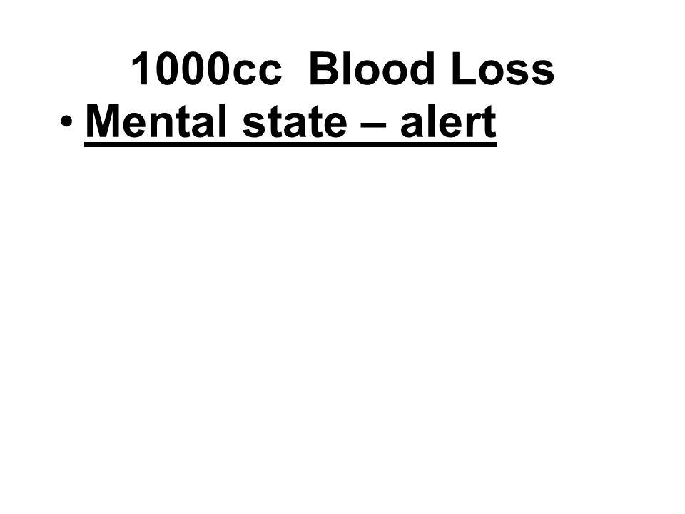 Mental state – alert 1000cc Blood Loss