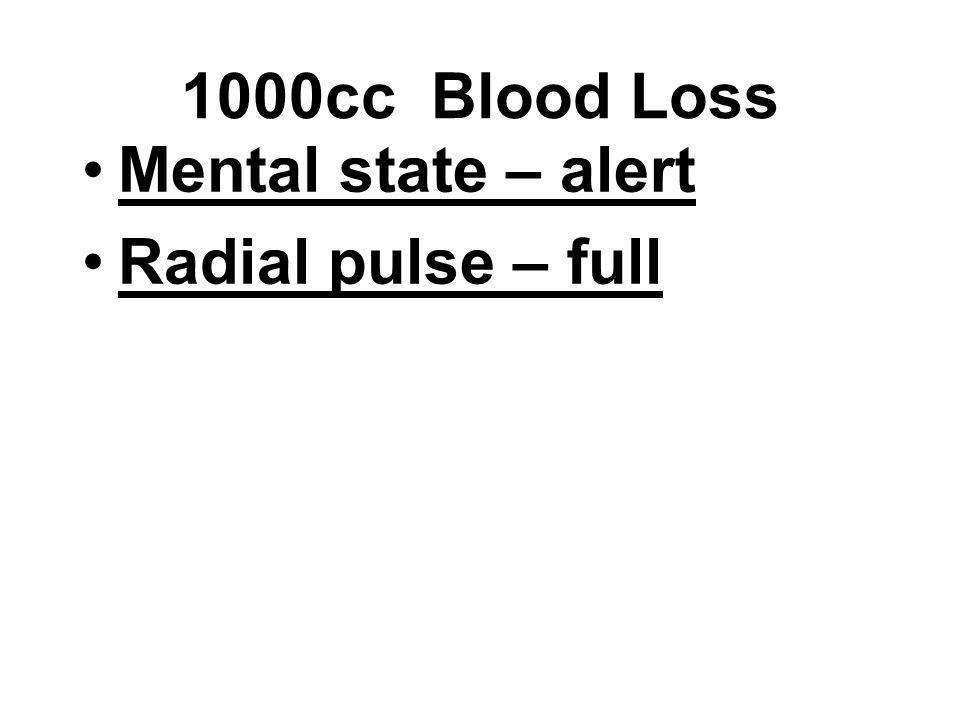 Mental state – alert Radial pulse – full 1000cc Blood Loss