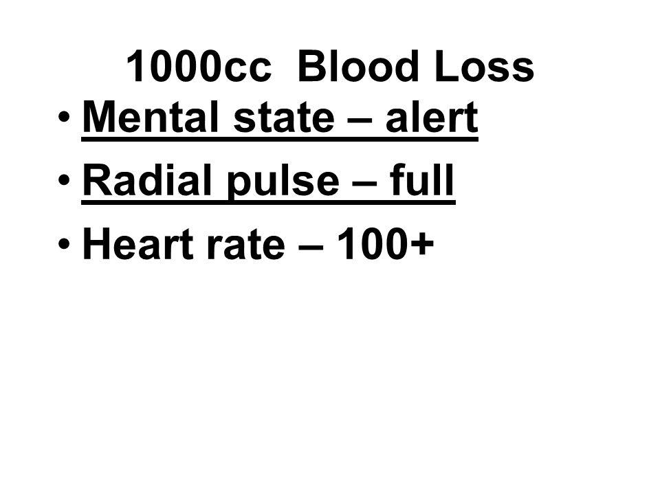 Mental state – alert Radial pulse – full Heart rate – 100+ 1000cc Blood Loss