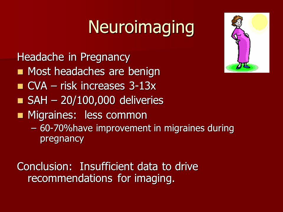 Neuroimaging Headache in Pregnancy Most headaches are benign Most headaches are benign CVA – risk increases 3-13x CVA – risk increases 3-13x SAH – 20/