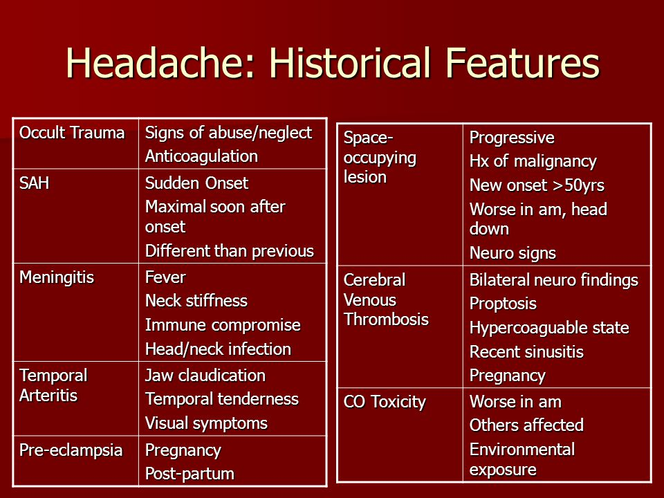 Headache: Historical Features Occult Trauma Signs of abuse/neglect Anticoagulation SAH Sudden Onset Maximal soon after onset Different than previous M