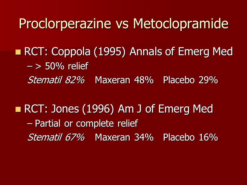 Proclorperazine vs Metoclopramide RCT: Coppola (1995) Annals of Emerg Med RCT: Coppola (1995) Annals of Emerg Med –> 50% relief Stematil 82% Maxeran 4