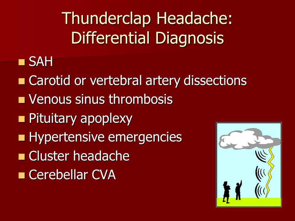 Sentinel Headache 30-50% of patients have a sentinel headache that precedes SAH by 6-20 days 30-50% of patients have a sentinel headache that precedes SAH by 6-20 days