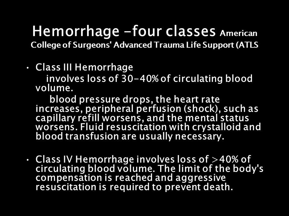 Hemorrhage -four classes American College of Surgeons' Advanced Trauma Life Support (ATLS Class III Hemorrhage involves loss of 30-40% of circulating