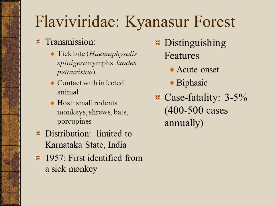 Flaviviridae: Kyanasur Forest Transmission: Tick bite (Haemaphysalis spinigera nymphs, Ixodes petauristae) Contact with infected animal Host: small rodents, monkeys, shrews, bats, porcupines Distribution: limited to Karnataka State, India 1957: First identified from a sick monkey Distinguishing Features Acute onset Biphasic Case-fatality: 3-5% (400-500 cases annually)