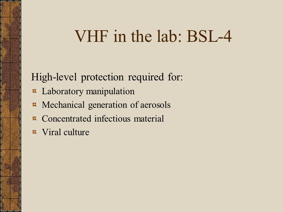 VHF in the lab: BSL-4 High-level protection required for: Laboratory manipulation Mechanical generation of aerosols Concentrated infectious material Viral culture