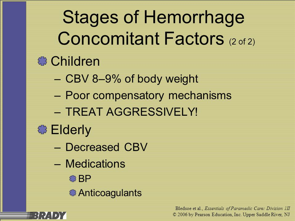 Bledsoe et al., Essentials of Paramedic Care: Division 1II © 2006 by Pearson Education, Inc. Upper Saddle River, NJ Stages of Hemorrhage Concomitant F