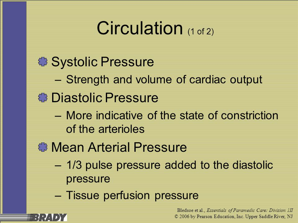 Bledsoe et al., Essentials of Paramedic Care: Division 1II © 2006 by Pearson Education, Inc. Upper Saddle River, NJ Circulation (1 of 2) Systolic Pres