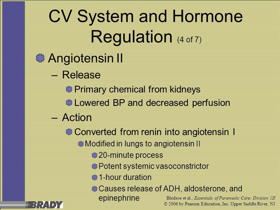 Bledsoe et al., Essentials of Paramedic Care: Division 1II © 2006 by Pearson Education, Inc. Upper Saddle River, NJ CV System and Hormone Regulation (