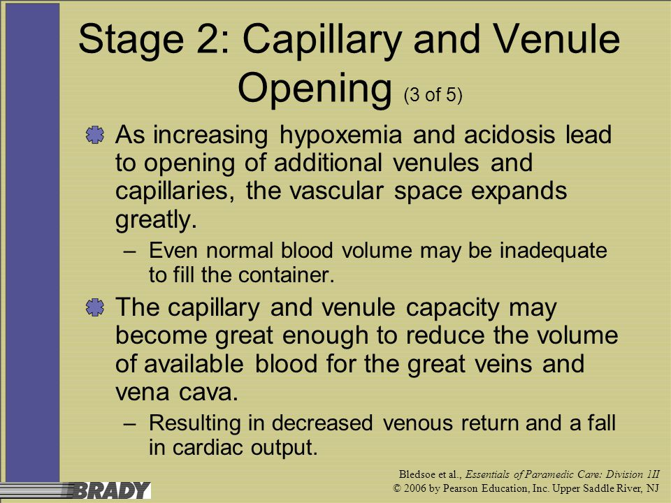 Bledsoe et al., Essentials of Paramedic Care: Division 1II © 2006 by Pearson Education, Inc. Upper Saddle River, NJ Stage 2: Capillary and Venule Open