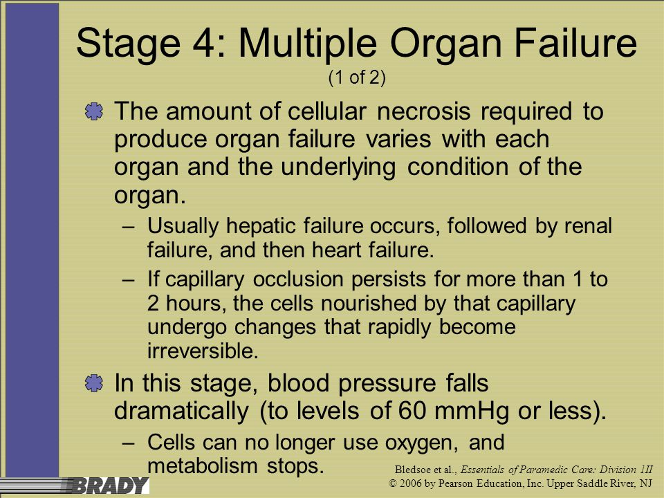 Bledsoe et al., Essentials of Paramedic Care: Division 1II © 2006 by Pearson Education, Inc. Upper Saddle River, NJ Stage 4: Multiple Organ Failure (1