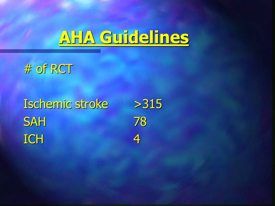 AHA Guidelines # of RCT Ischemic stroke>315 SAH78 ICH4