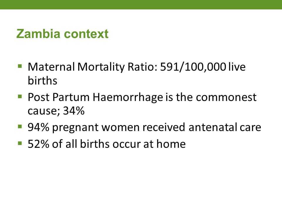  Maternal Mortality Ratio: 591/100,000 live births  Post Partum Haemorrhage is the commonest cause; 34%  94% pregnant women received antenatal care