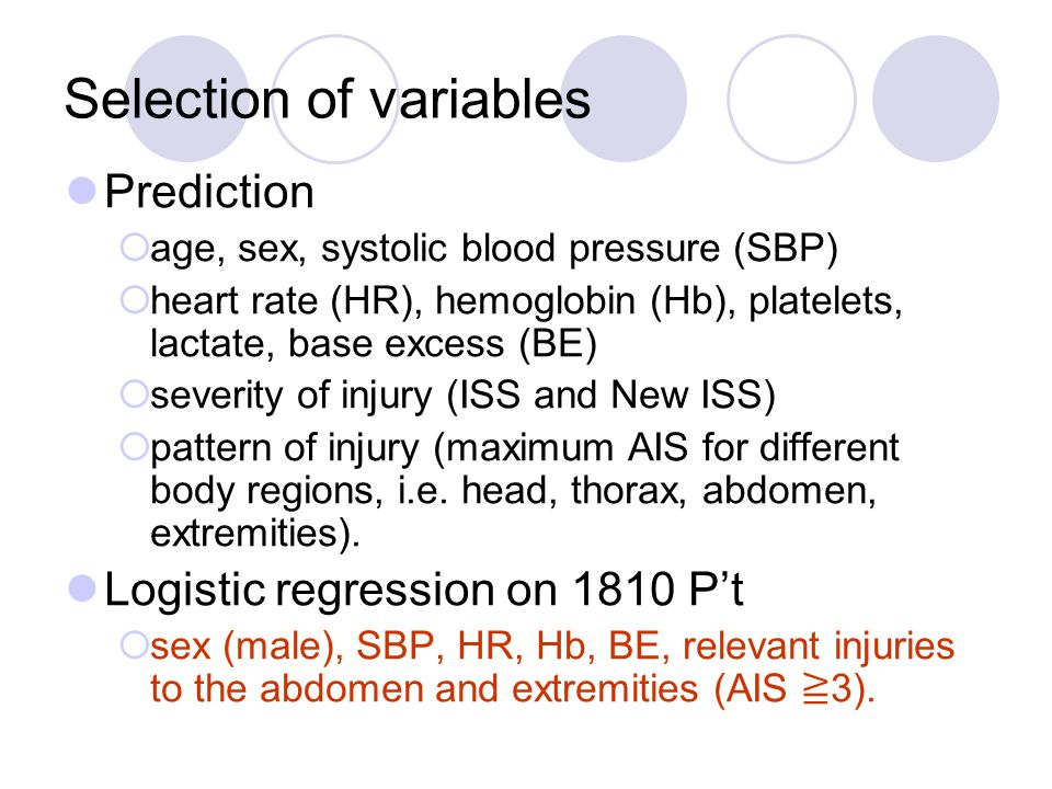 Selection of variables Prediction  age, sex, systolic blood pressure (SBP)  heart rate (HR), hemoglobin (Hb), platelets, lactate, base excess (BE)  severity of injury (ISS and New ISS)  pattern of injury (maximum AIS for different body regions, i.e.