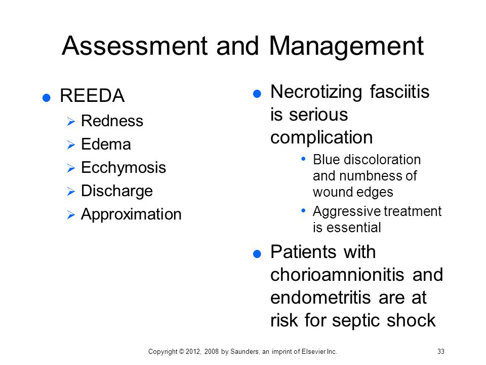 Assessment and Management  REEDA  Redness  Edema  Ecchymosis  Discharge  Approximation  Necrotizing fasciitis is serious complication Blue disc