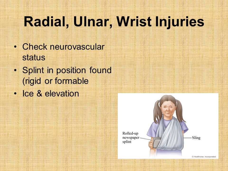 Radial, Ulnar, Wrist Injuries Check neurovascular status Splint in position found (rigid or formable Ice & elevation