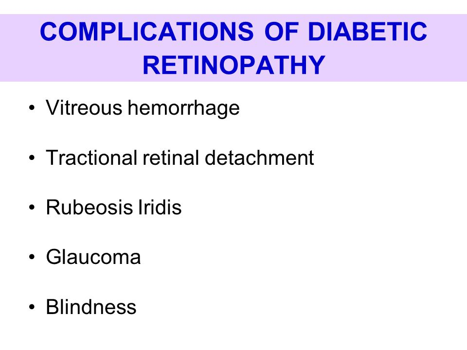 COMPLICATIONS OF DIABETIC RETINOPATHY Vitreous hemorrhage Tractional retinal detachment Rubeosis Iridis Glaucoma Blindness