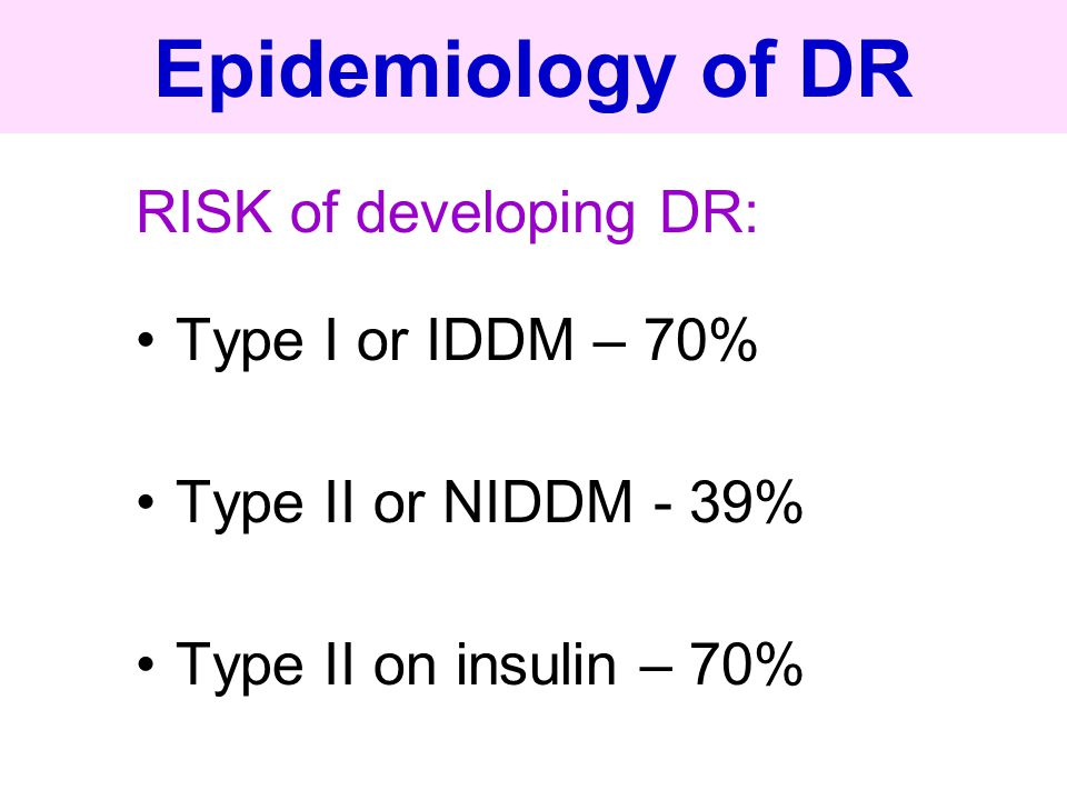 Epidemiology of DR RISK of developing DR: Type I or IDDM – 70% Type II or NIDDM - 39% Type II on insulin – 70%