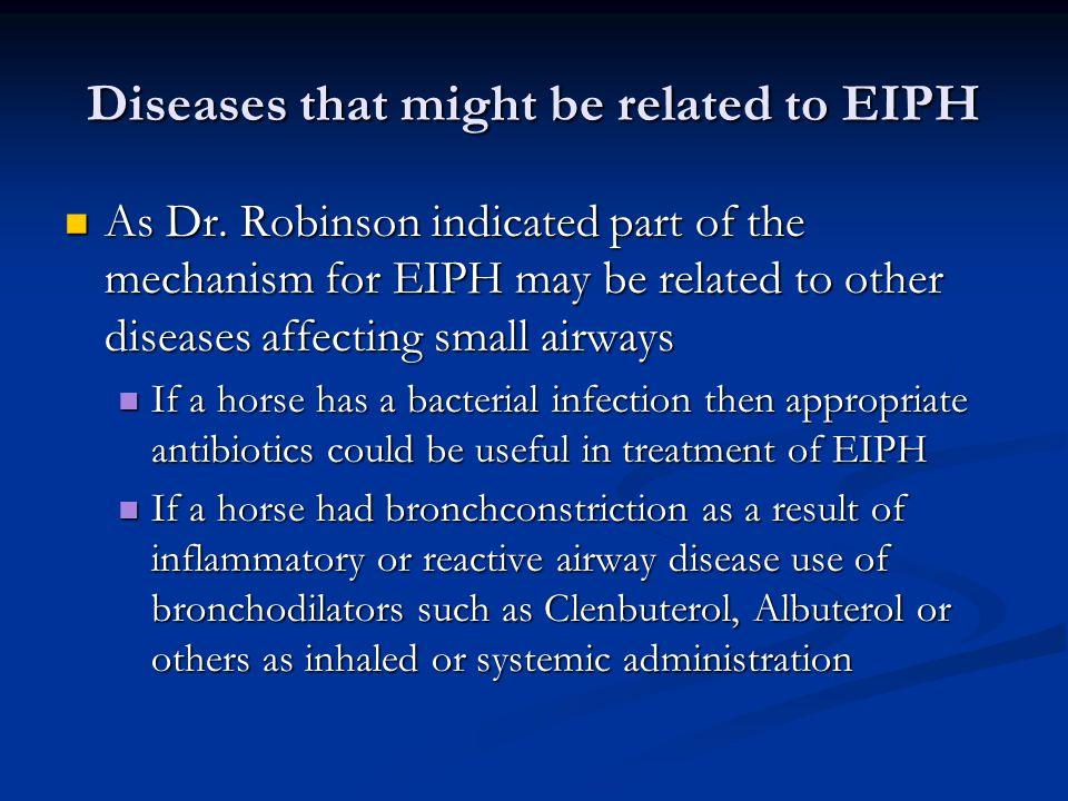 Diseases that might be related to EIPH As Dr.