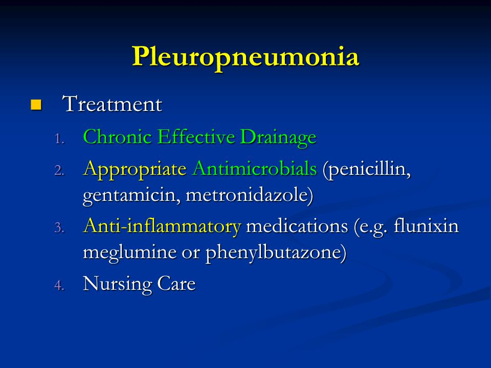 Pleuropneumonia Treatment Treatment 1. Chronic Effective Drainage 2.