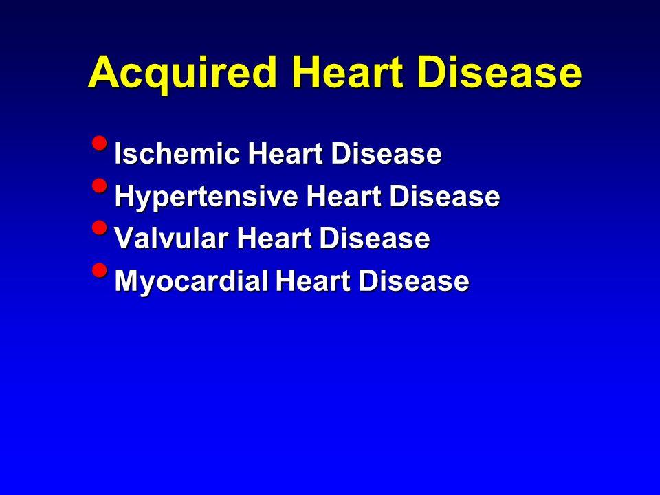 Acquired Heart Disease Ischemic Heart Disease Ischemic Heart Disease Hypertensive Heart Disease Hypertensive Heart Disease Valvular Heart Disease Valvular Heart Disease Myocardial Heart Disease Myocardial Heart Disease