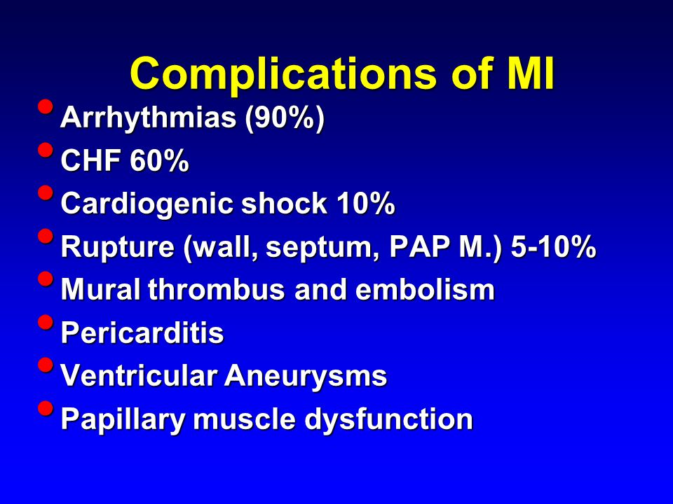 Complications of MI Arrhythmias (90%) Arrhythmias (90%) CHF 60% CHF 60% Cardiogenic shock 10% Cardiogenic shock 10% Rupture (wall, septum, PAP M.) 5-10% Rupture (wall, septum, PAP M.) 5-10% Mural thrombus and embolism Mural thrombus and embolism Pericarditis Pericarditis Ventricular Aneurysms Ventricular Aneurysms Papillary muscle dysfunction Papillary muscle dysfunction