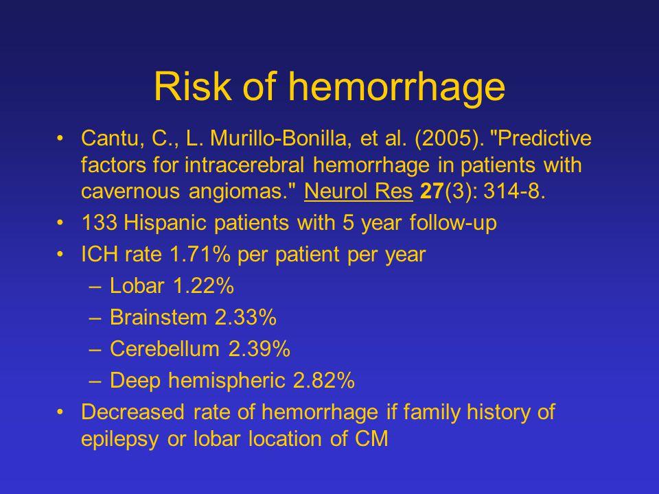 Risk of hemorrhage Cantu, C., L. Murillo-Bonilla, et al.