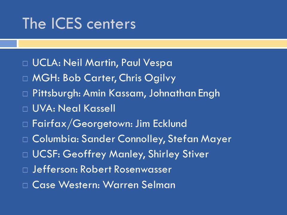 The ICES centers  UCLA: Neil Martin, Paul Vespa  MGH: Bob Carter, Chris Ogilvy  Pittsburgh: Amin Kassam, Johnathan Engh  UVA: Neal Kassell  Fairf