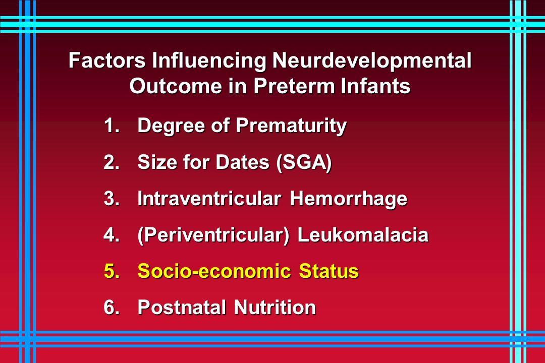 Factors Influencing Neurdevelopmental Outcome in Preterm Infants 1. Degree of Prematurity 1. Degree of Prematurity 2. Size for Dates (SGA) 2. Size for