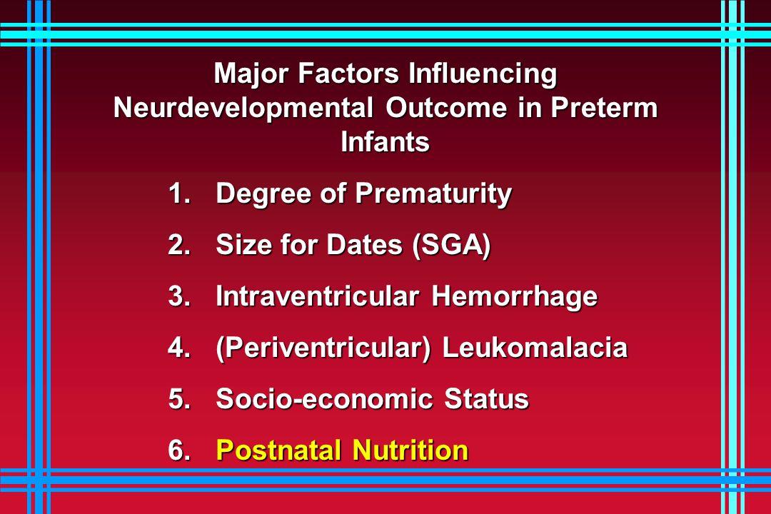 Major Factors Influencing Neurdevelopmental Outcome in Preterm Infants 1.
