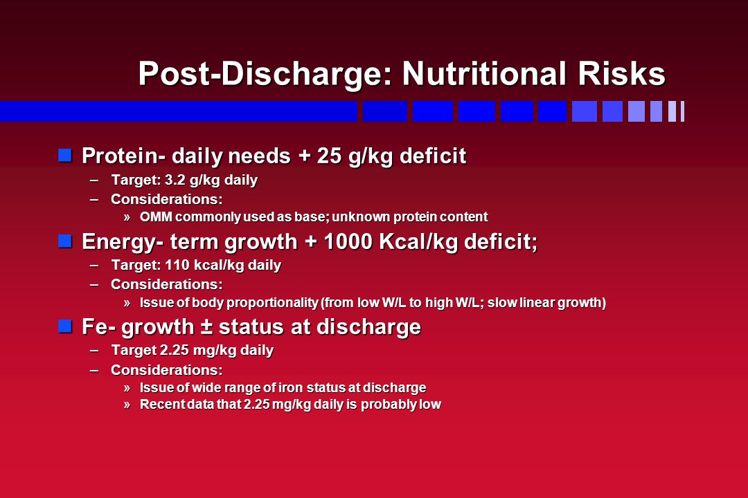 Post-Discharge: Nutritional Risks Protein- daily needs + 25 g/kg deficit Protein- daily needs + 25 g/kg deficit –Target: 3.2 g/kg daily –Consideration