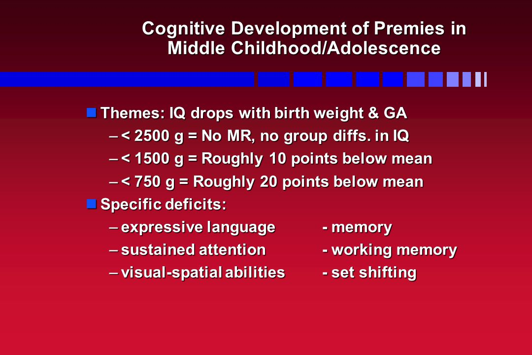 Cognitive Development of Premies in Middle Childhood/Adolescence Themes: IQ drops with birth weight & GA Themes: IQ drops with birth weight & GA –< 2500 g = No MR, no group diffs.