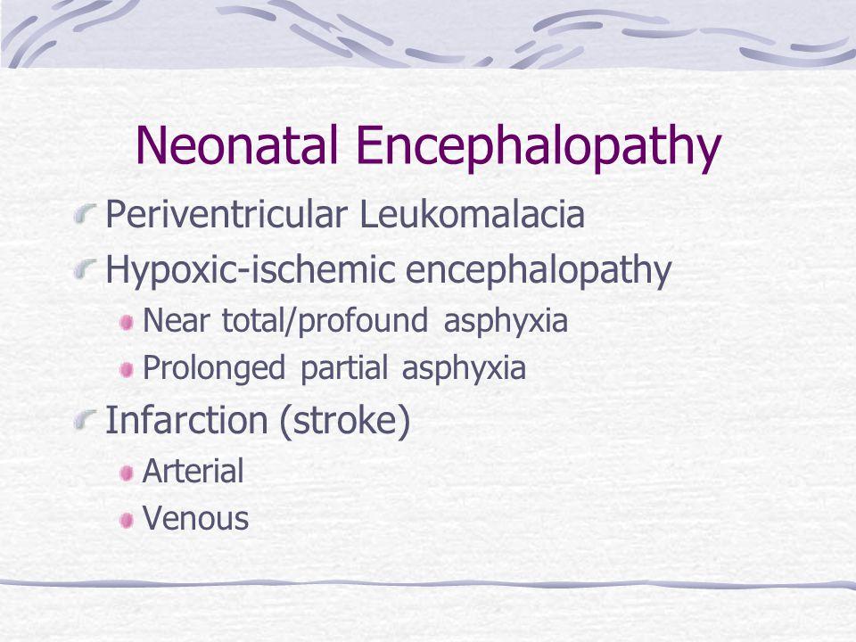 Neonatal Encephalopathy Periventricular Leukomalacia Hypoxic-ischemic encephalopathy Near total/profound asphyxia Prolonged partial asphyxia Infarctio