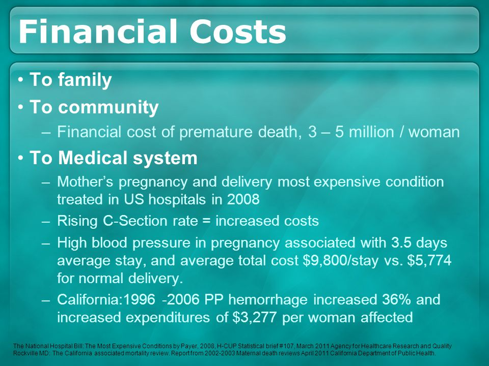 Financial Costs To family To community –Financial cost of premature death, 3 – 5 million / woman To Medical system –Mother's pregnancy and delivery mo