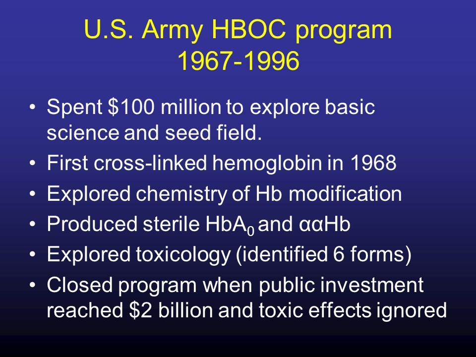 U.S. Army HBOC program 1967-1996 Spent $100 million to explore basic science and seed field. First cross-linked hemoglobin in 1968 Explored chemistry