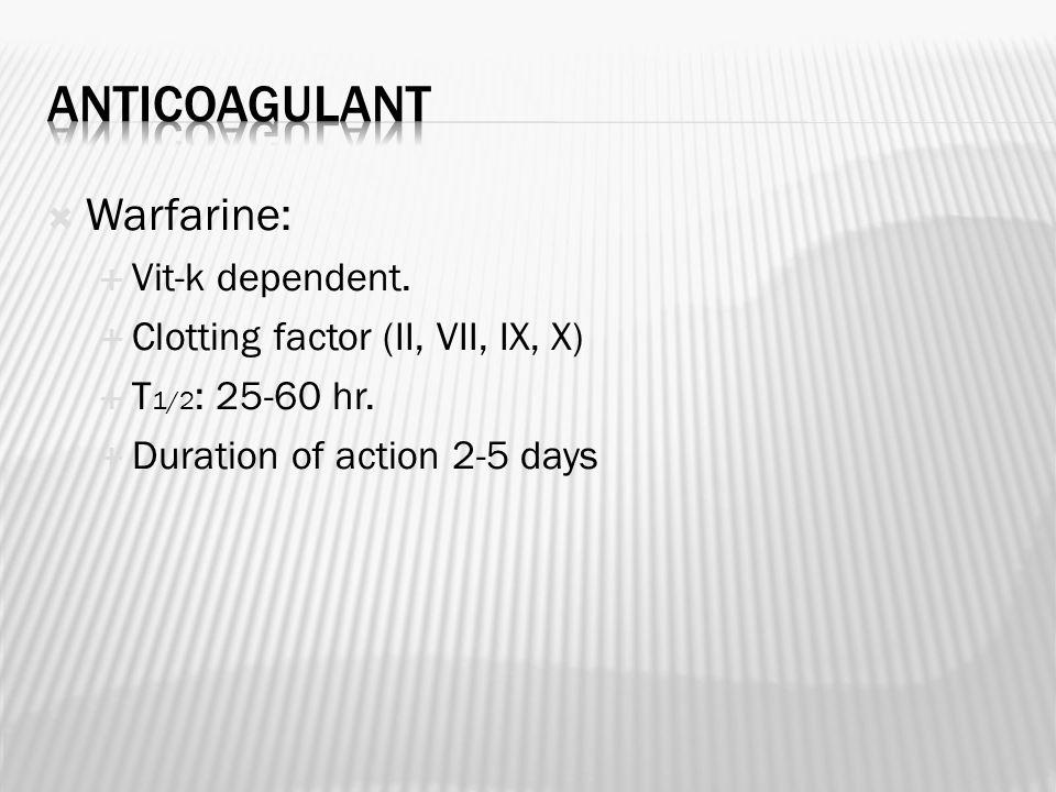  Warfarine:  Vit-k dependent.  Clotting factor (II, VII, IX, X)  T 1/2 : 25-60 hr.