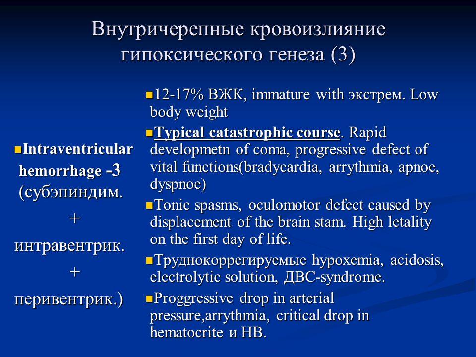 Внутричерепные кровоизлияние гипоксического генеза (3) Intraventricular hemorrhage -3 (субэпиндим.