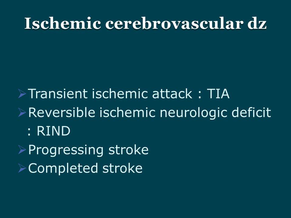  Transient ischemic attack : TIA  Reversible ischemic neurologic deficit : RIND  Progressing stroke  Completed stroke Ischemic cerebrovascular dz